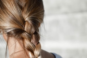 Close up of hair in braid.
