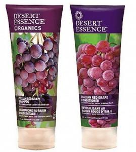 Desert Essence Organics Italian Red Grape shampoo and conditioner bottles.