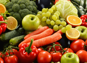 Pile of fruits and vegetables.