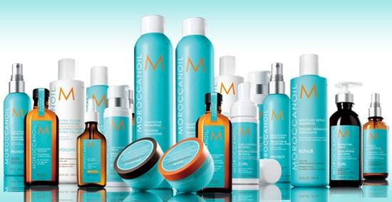 Moroccanoil product bottles.