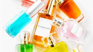 Glass fragrance bottles.
