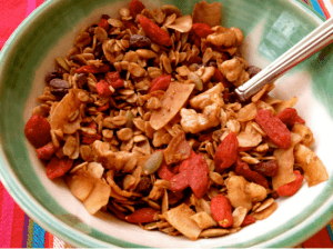 Bowl of cereal with goji berries.