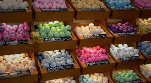 Bath bombs sorted by type.