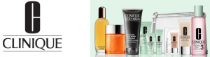 Clinique promotional banner with array of products.