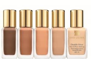 Estée Lauder's double wear foundation in five shades.