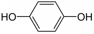 Chemical composition of hydroquinone.