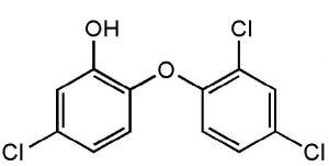Chemical formula of triclosan.