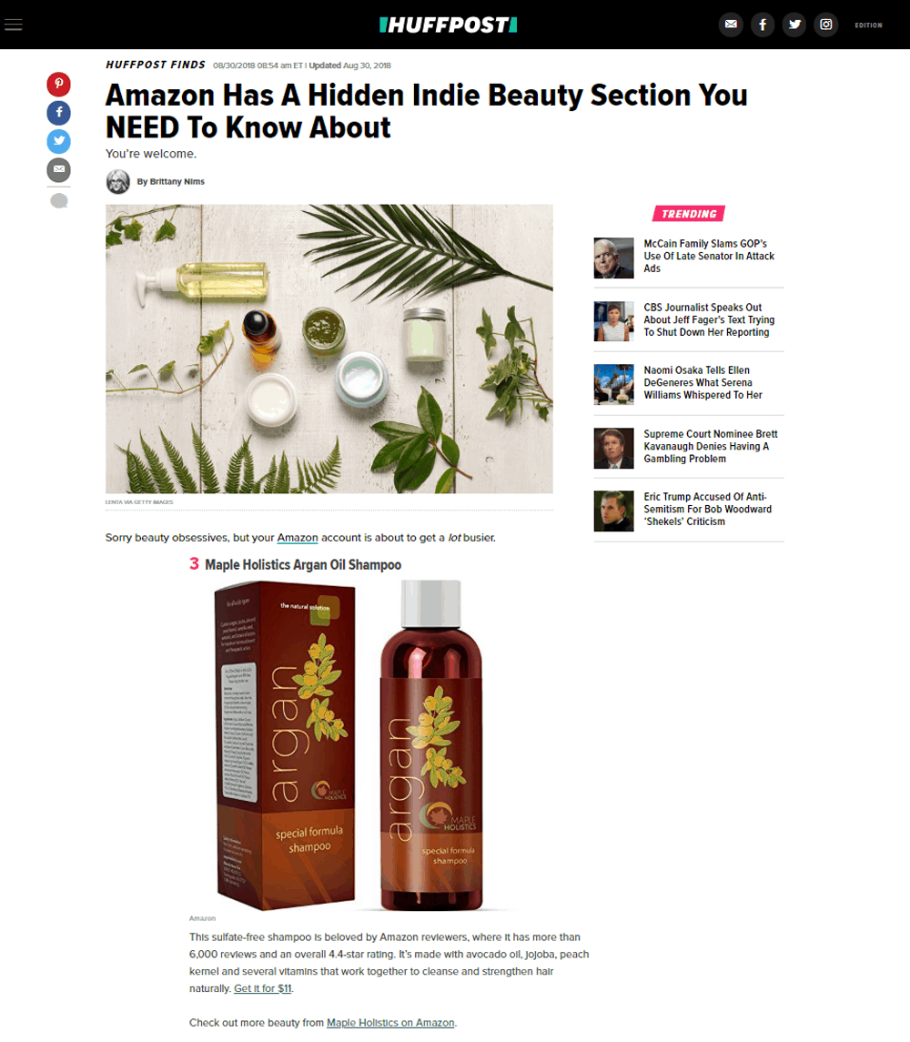 Hidden Indie Beauty Section on Amazon