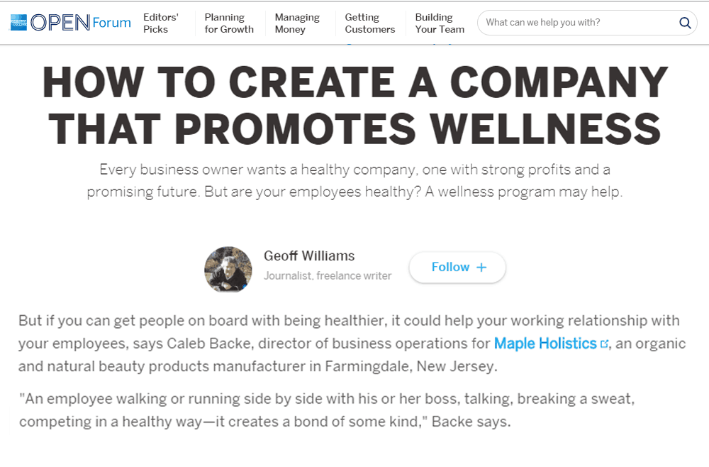 COMPANY THAT PROMOTES WELLNESS