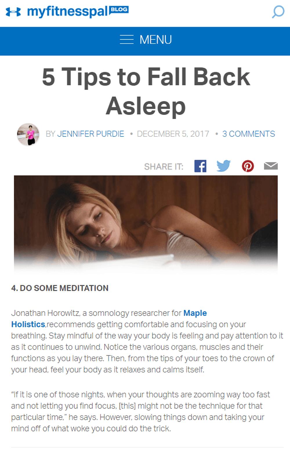 falling asleep tips
