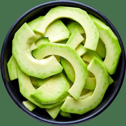 Avocado sliced in a bowl.