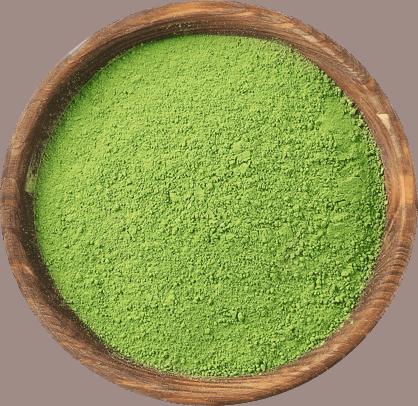 Green tea powder in a bowl.