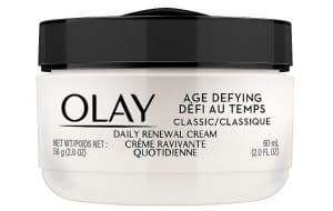 Bottle of Olay Age Defying Classic Daily Renewal Cream.