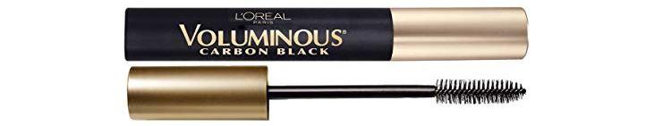 Tube of L'Oreal Voluminous Carbon Black Mascara.