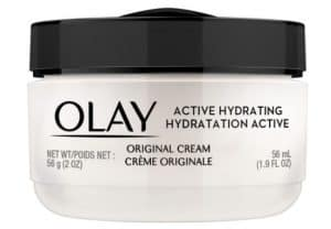 Bottle of olay active hydrating face cream.