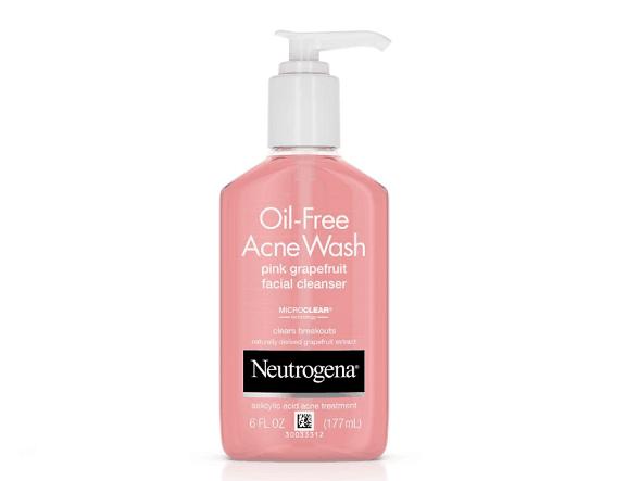 Bottle of neutrogena pink graprefruit oil free cleanser with pump.