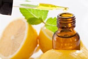 Lemon essential oil dropper.