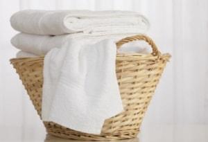 Basket of white laundry.