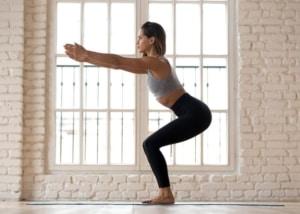 Woman doing yoga pose.