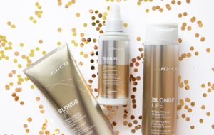 Collection of Joico Blonde Life products with glitter.
