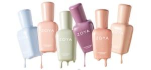 Different shades of Zoya nail polish.