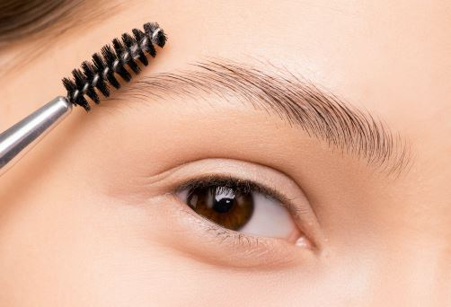 Close up of woman's eyebrows and spoolie.