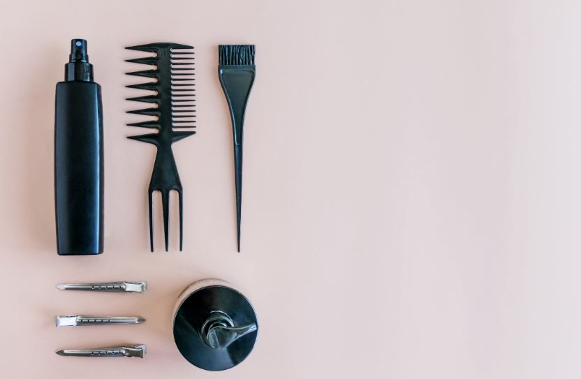 Birds eye view of tools for dying hair.